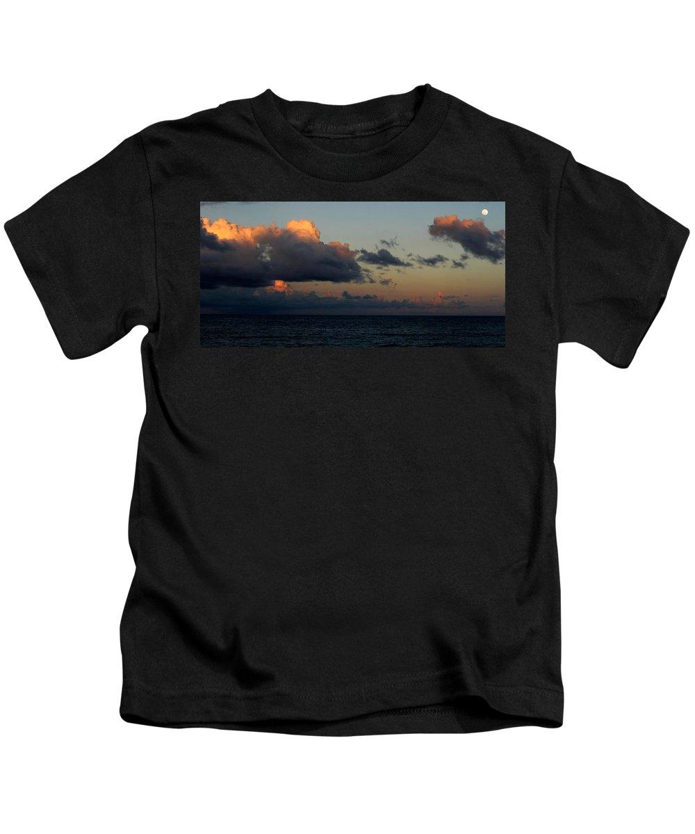 Sunset Kids T-Shirt featuring the photograph Moon Rising by Ian MacDonald