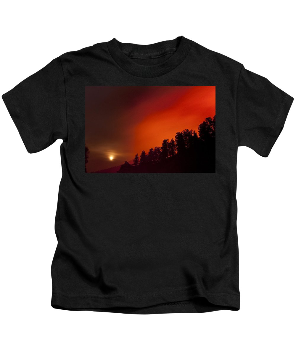 Wild Fire Kids T-Shirt featuring the photograph Moon Rising With A Wild Fire by James BO Insogna