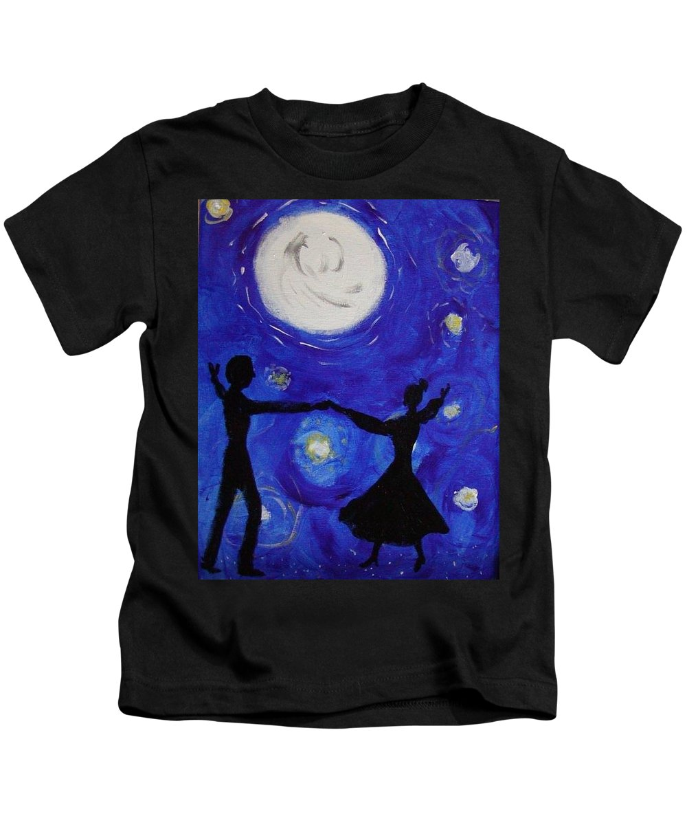 Party Kids T-Shirt featuring the painting Moonlight Dance by Helen Krummenacker
