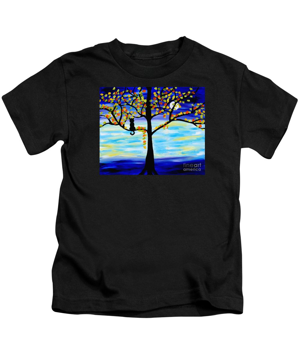 Cats Kids T-Shirt featuring the painting Moonlight Kitten by Art by Danielle