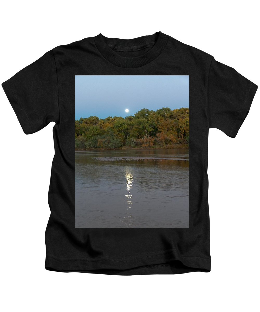 Moonlight Kids T-Shirt featuring the photograph Moonlight On The Rio Grande by Tim McCarthy