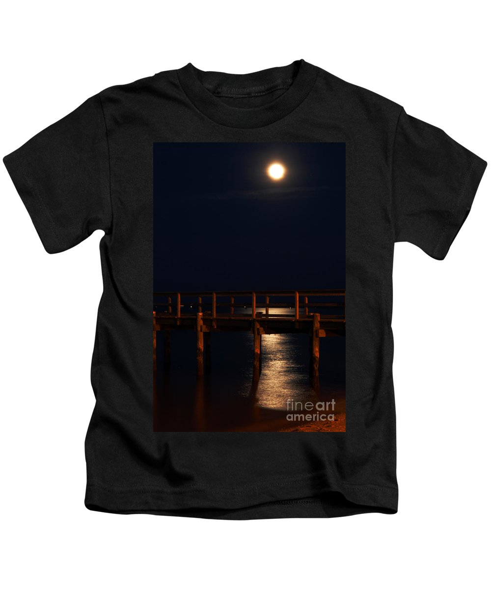 Clay Kids T-Shirt featuring the photograph Moonlight On Water by Clayton Bruster