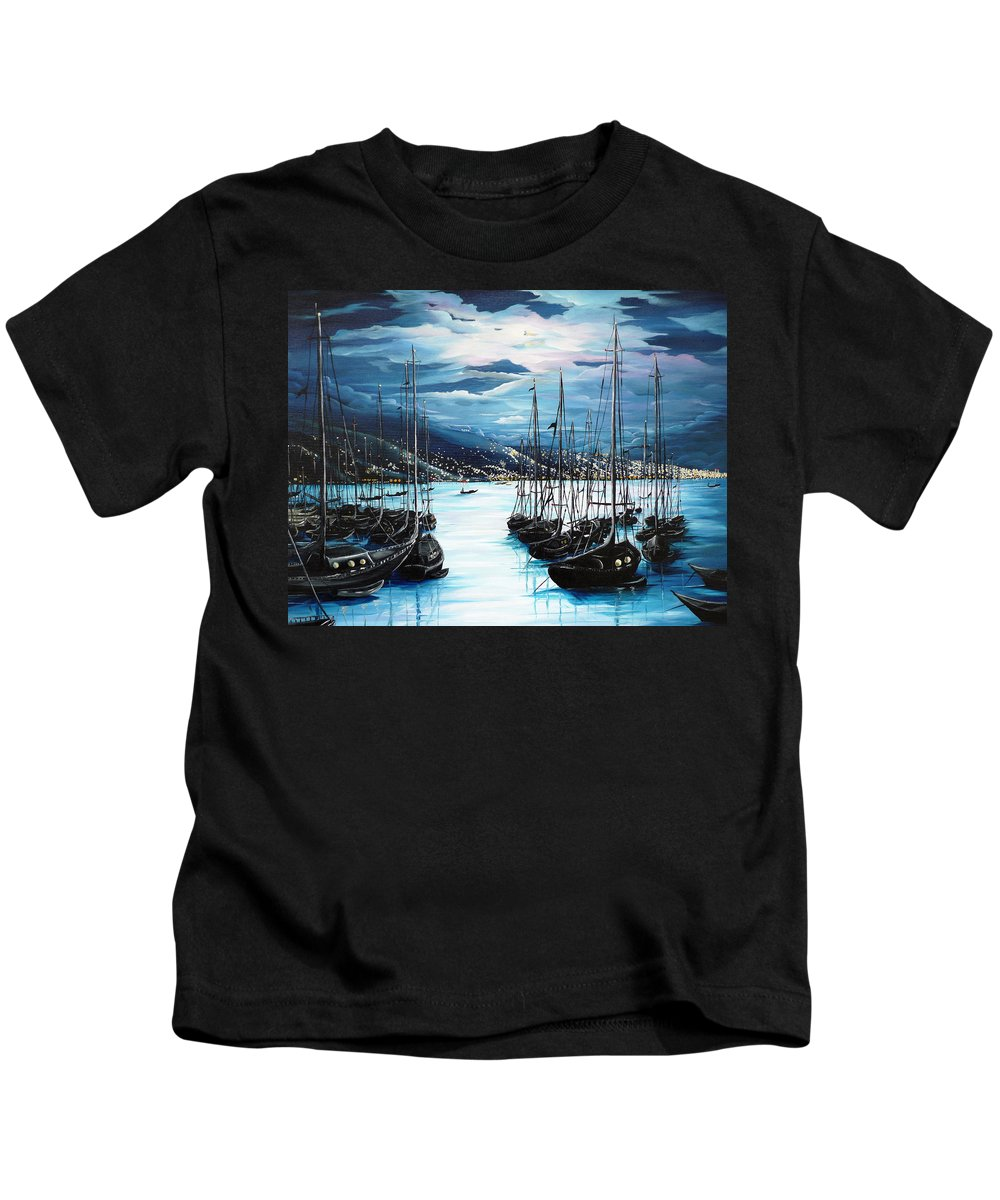 Ocean Painting  Caribbean Seascape Painting Moonlight Painting Yachts Painting Marina Moonlight Port Of Spain Trinidad And Tobago Painting Greeting Card Painting Kids T-Shirt featuring the painting Moonlight Over Port Of Spain by Karin Dawn Kelshall- Best