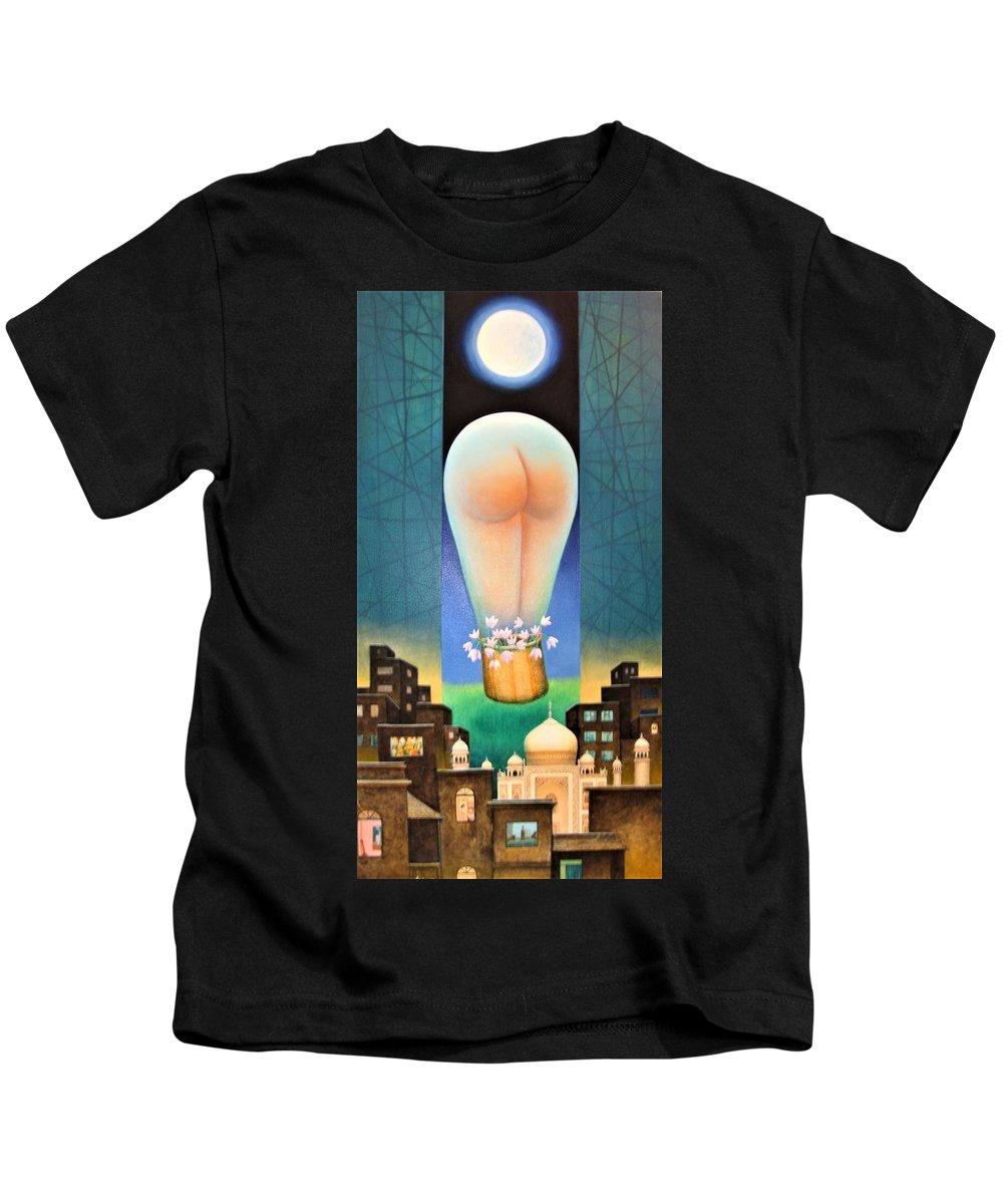 Romantic Kids T-Shirt featuring the painting Moonlit Night-b by Raju Bose