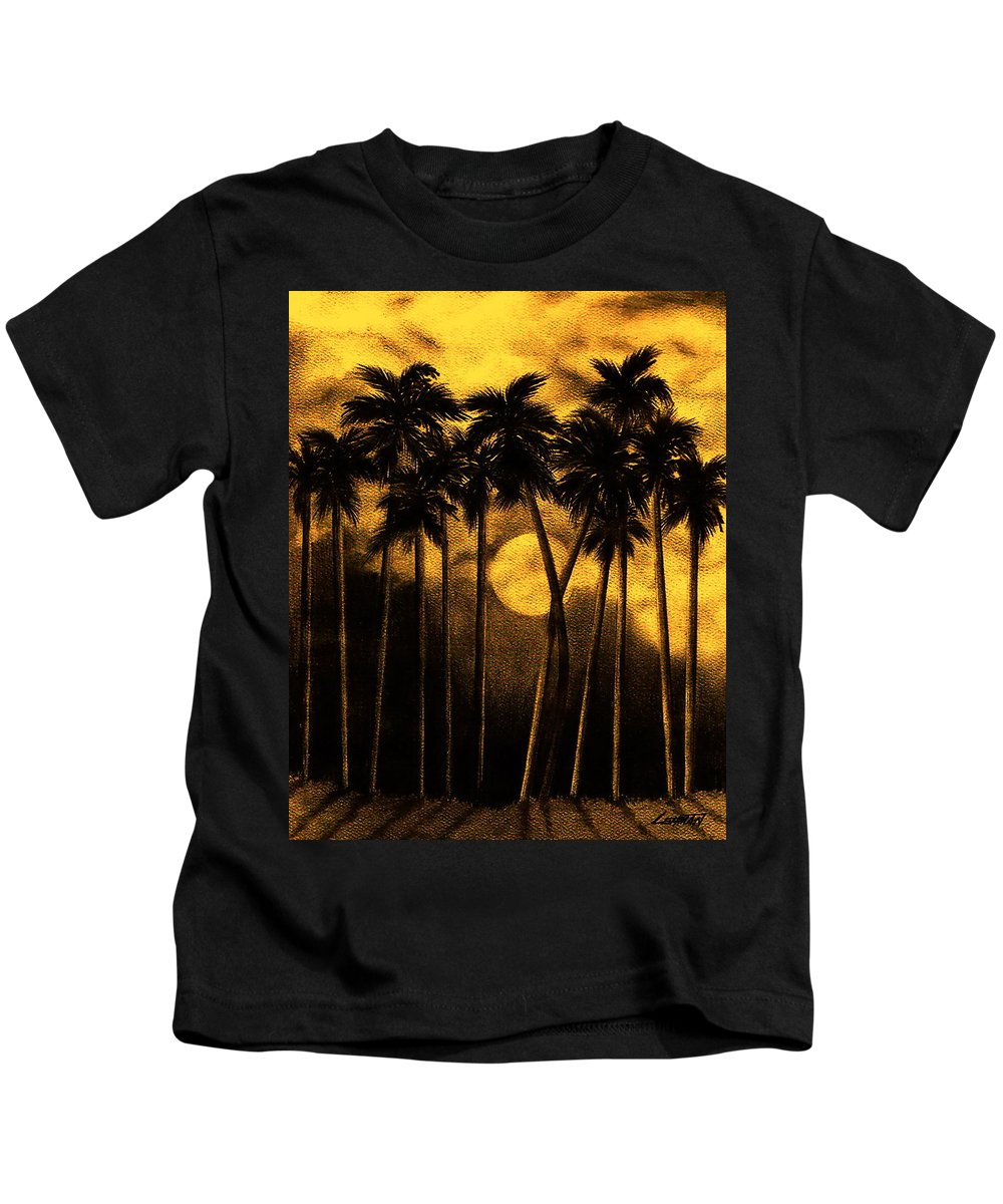 Moonlit Palm Trees In Yellow Kids T-Shirt featuring the mixed media Moonlit Palm Trees In Yellow by Larry Lehman