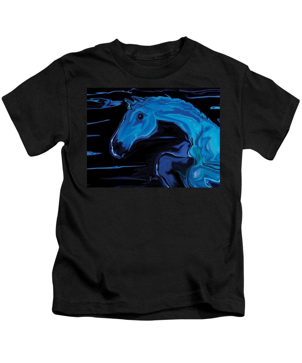 Animal Kids T-Shirt featuring the digital art Moonlit Run by Rabi Khan