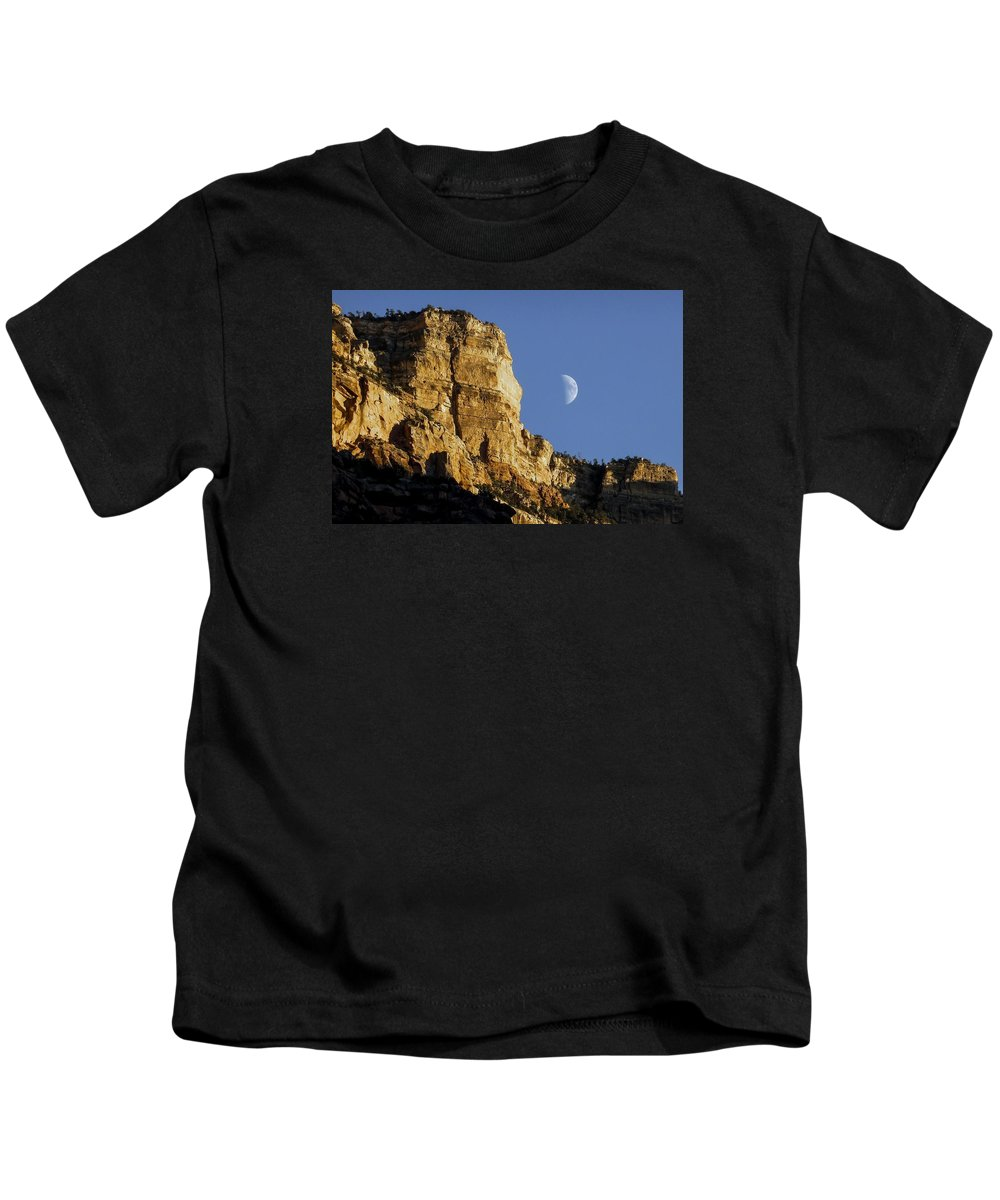 Moon Kids T-Shirt featuring the photograph Moonrise Over Grand Canyon by NaturesPix