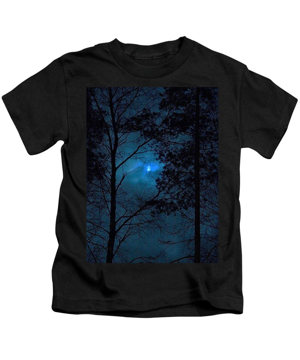 Lehtokukka Kids T-Shirt featuring the photograph Moonshine 10 Blue Sky by Jouko Lehto
