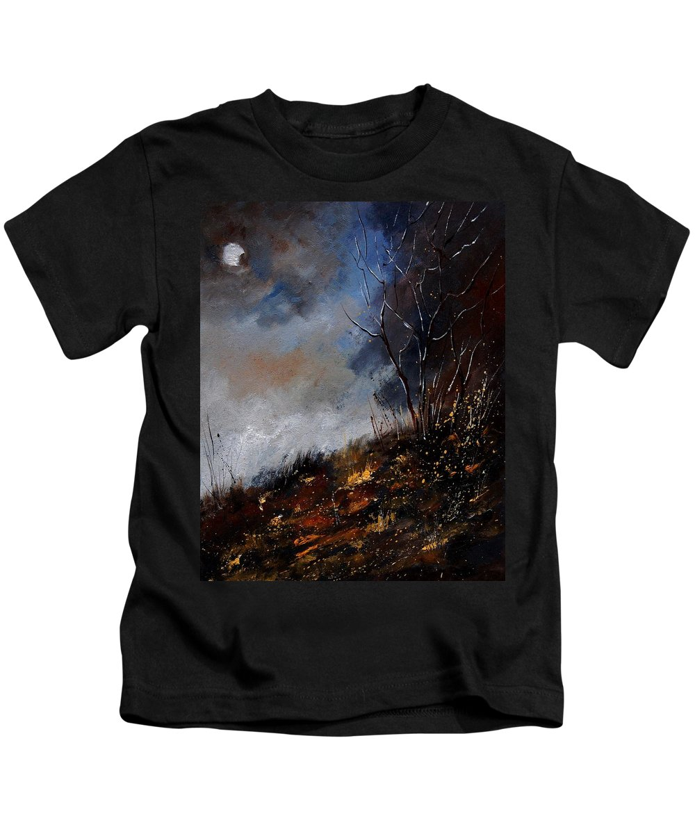Winter Kids T-Shirt featuring the painting Moonshine 45901190 by Pol Ledent