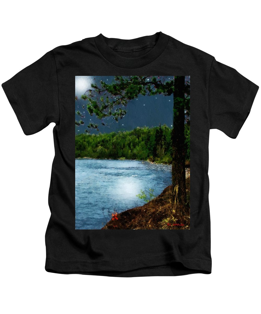 Landscape Kids T-Shirt featuring the painting Moonstruck 'my Starry Night' by RC DeWinter