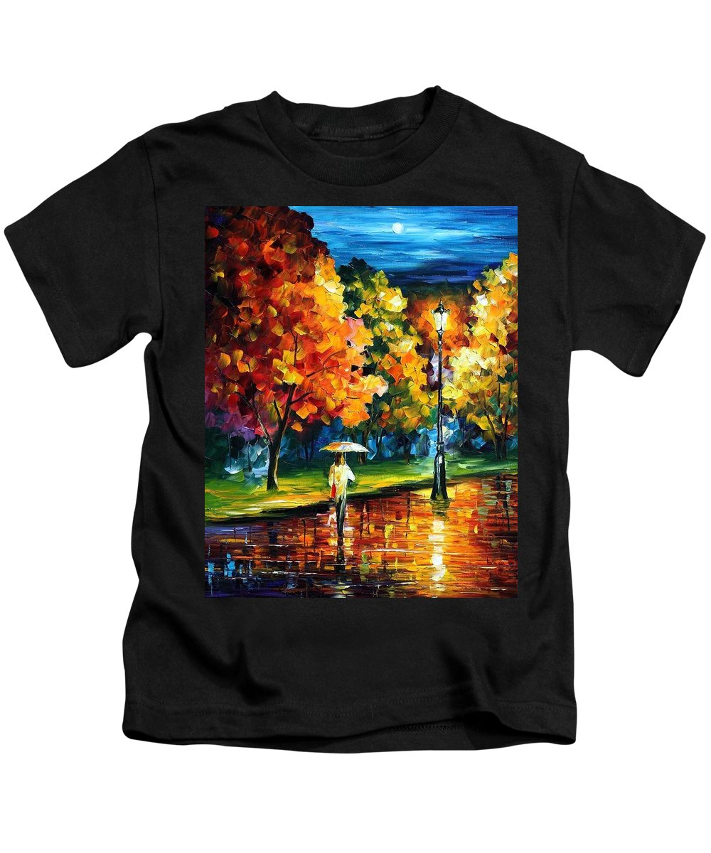 Afremov Kids T-Shirt featuring the painting Moony Night by Leonid Afremov