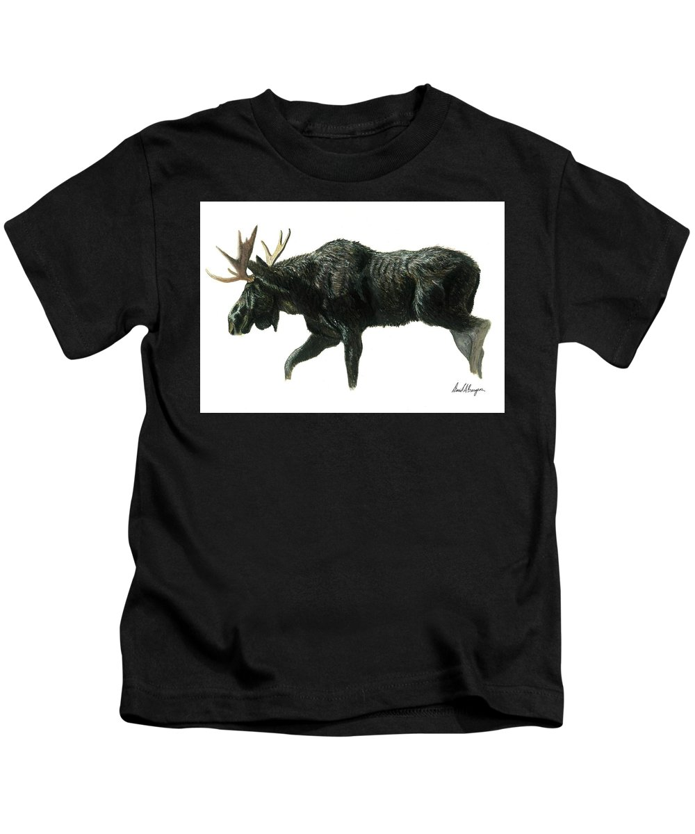 Moose Kids T-Shirt featuring the photograph On The Move by David Burgess