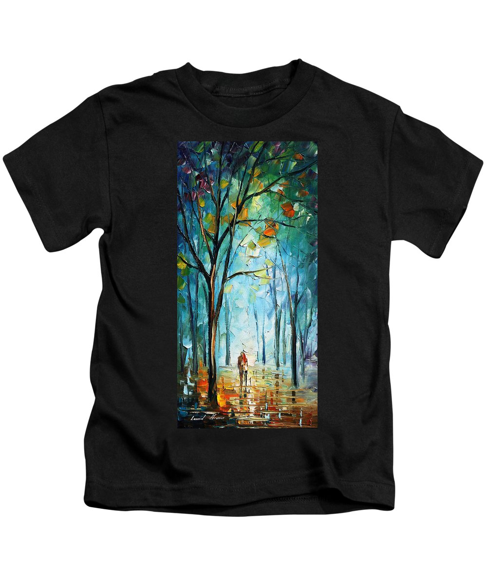 Afremov Kids T-Shirt featuring the painting Morning Fog by Leonid Afremov