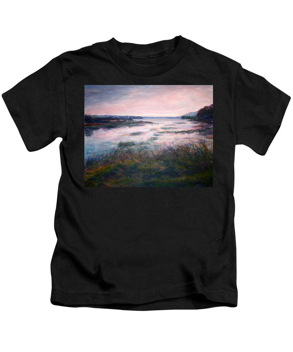 Water Kids T-Shirt featuring the painting Morning Glow by Quin Sweetman