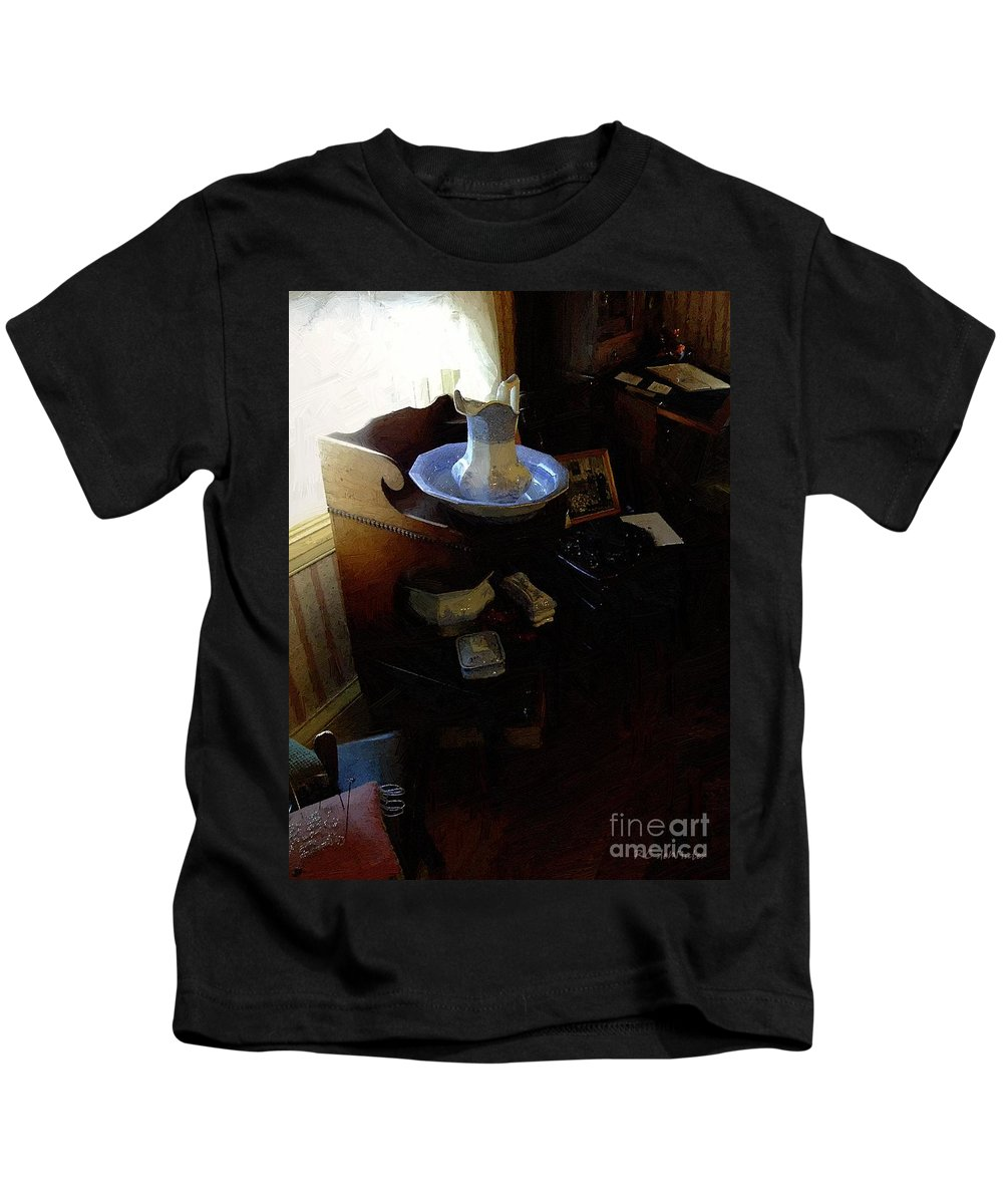 Antiques Kids T-Shirt featuring the painting Morning In The Study by RC DeWinter