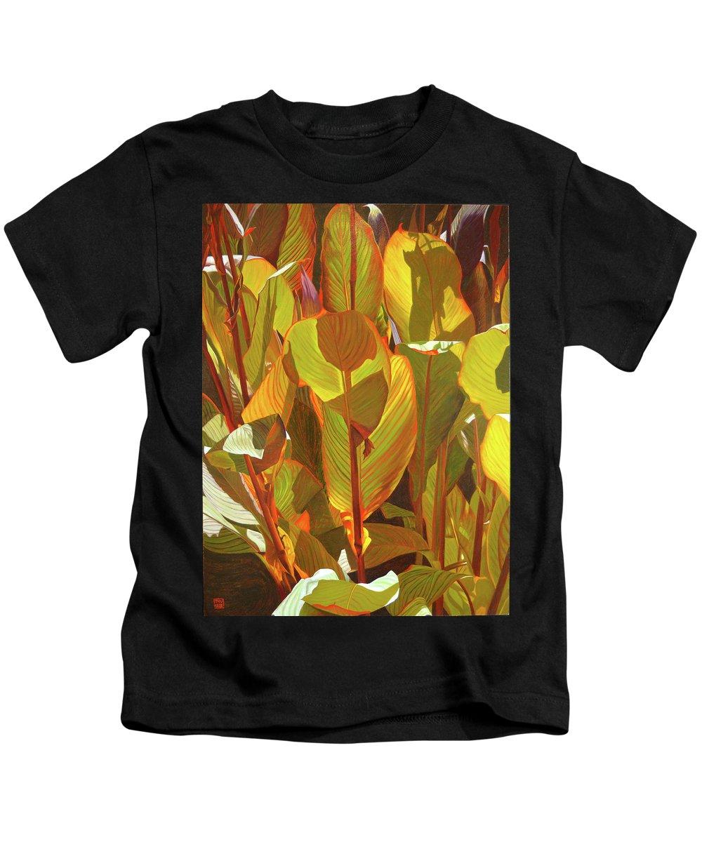 Botanical Art Kids T-Shirt featuring the painting Morning Sun by Thu Nguyen
