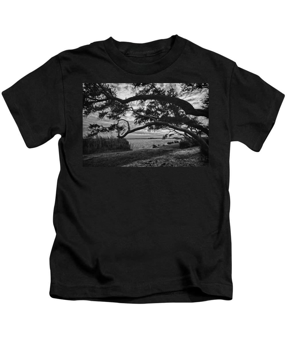Pelican Kids T-Shirt featuring the digital art Morning Sunrise In Bw by Michael Thomas