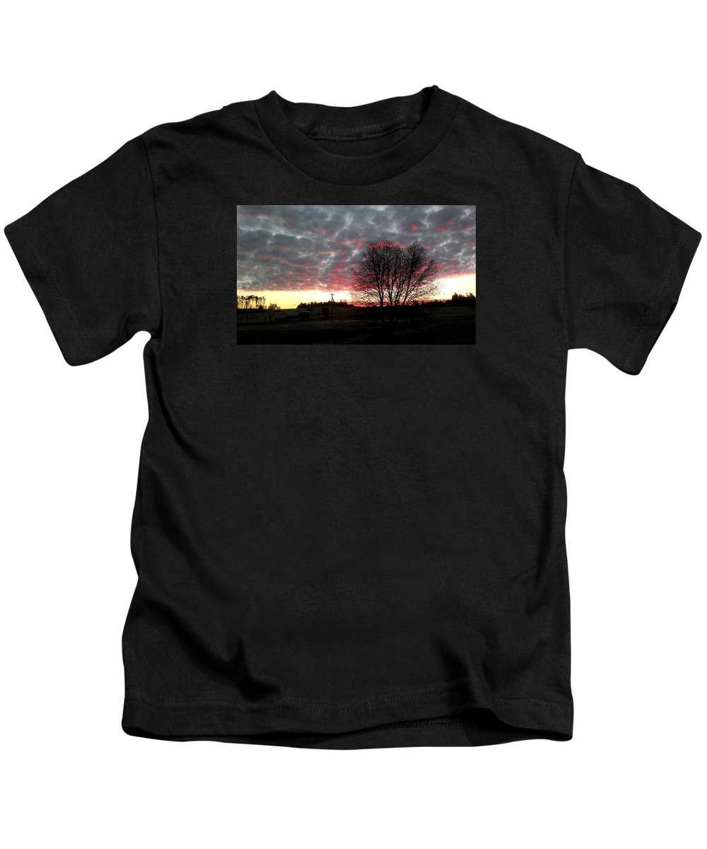 I Took This Picture While I Was Going To School Bus. Kids T-Shirt featuring the photograph Morning by Valters Argulis