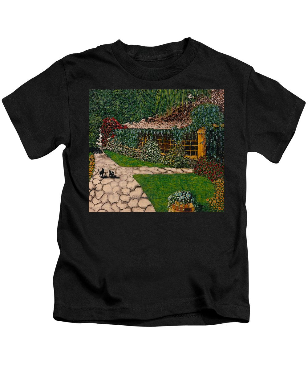 European Kids T-Shirt featuring the painting Morning Walk by V Boge