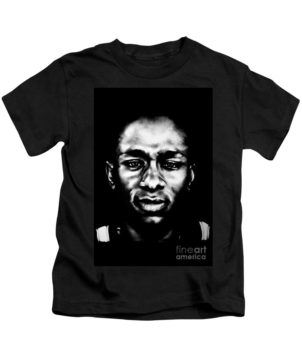 Charcoal Kids T-Shirt featuring the drawing Mos Def by Brian Curran