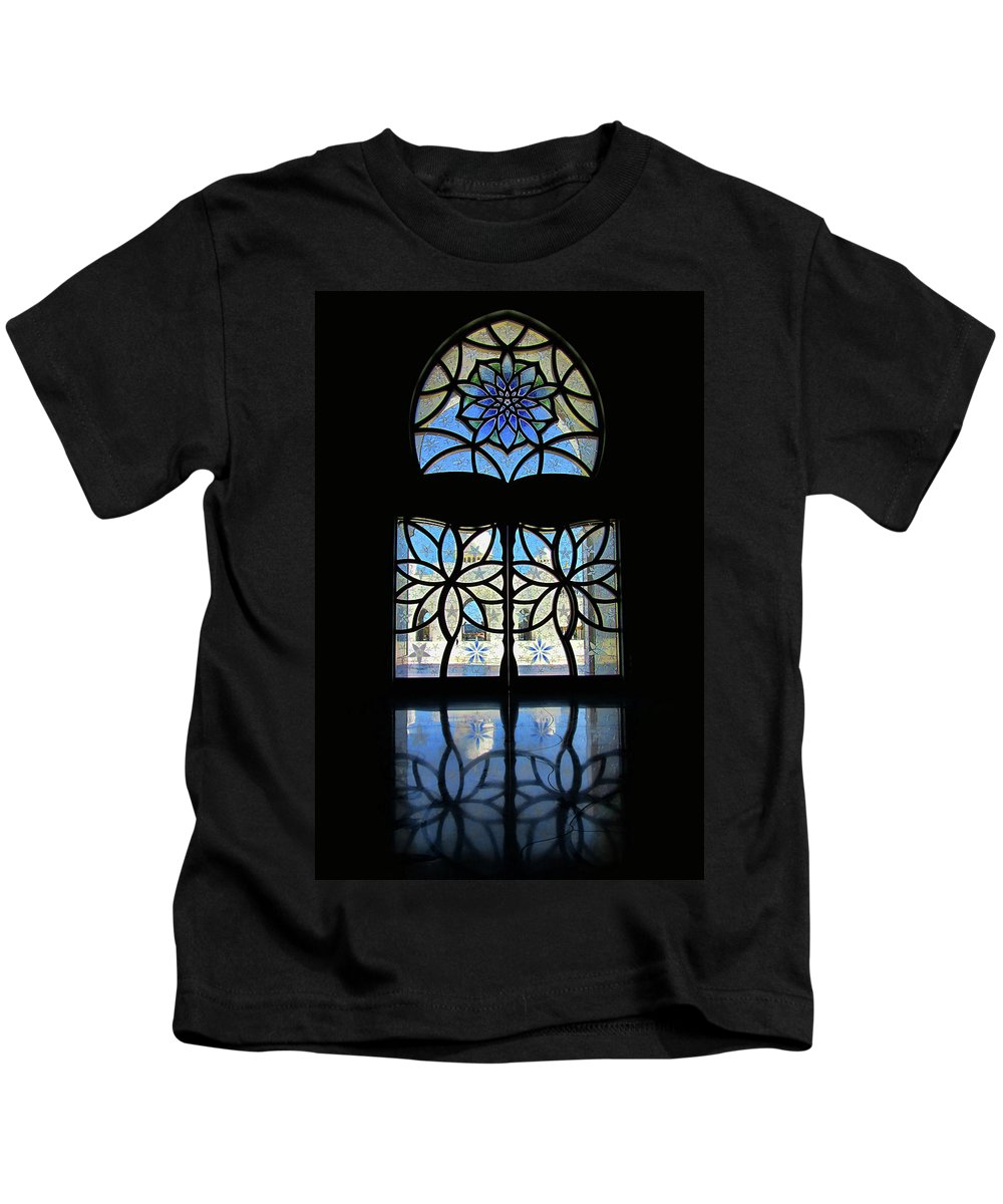 Artistic Window Kids T-Shirt featuring the photograph Mosque Foyer Window 2 by Mark Sellers