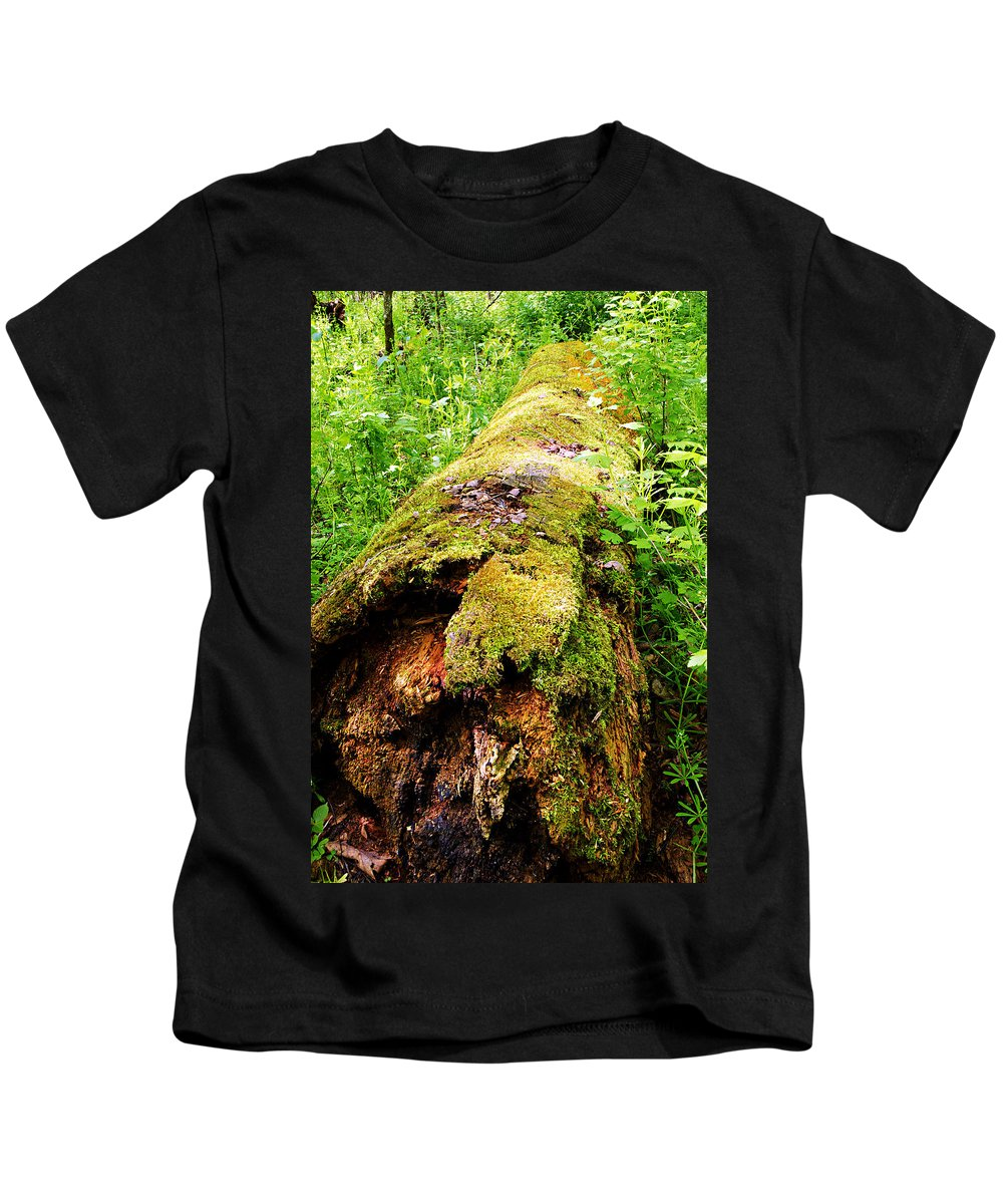 Moss Covered Log Kids T-Shirt featuring the photograph Moss Covered Log 3 by Larry Ricker