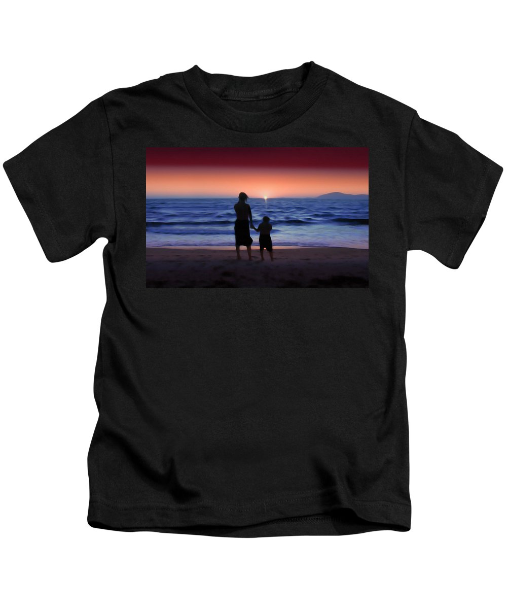 Sunrise Kids T-Shirt featuring the photograph Mother And Daughter by Gravityx9 Designs