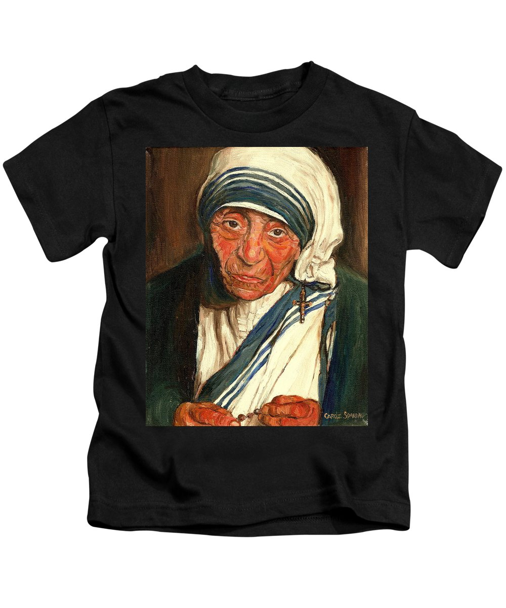 Mother Teresa Kids T-Shirt featuring the painting Mother Teresa by Carole Spandau