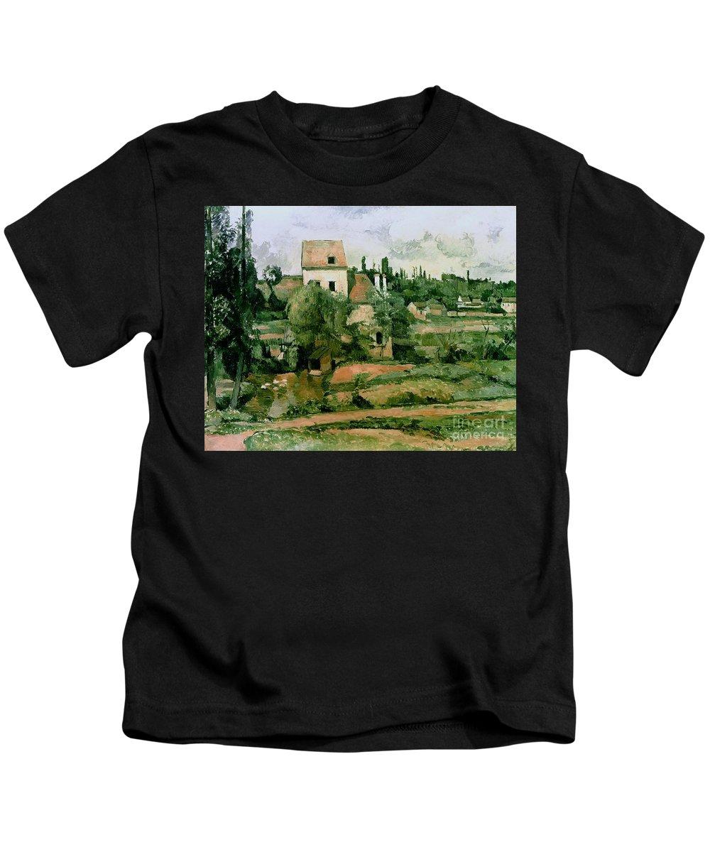 Kids T-Shirt featuring the painting Moulin De La Couleuvre At Pontoise by Paul Cezanne