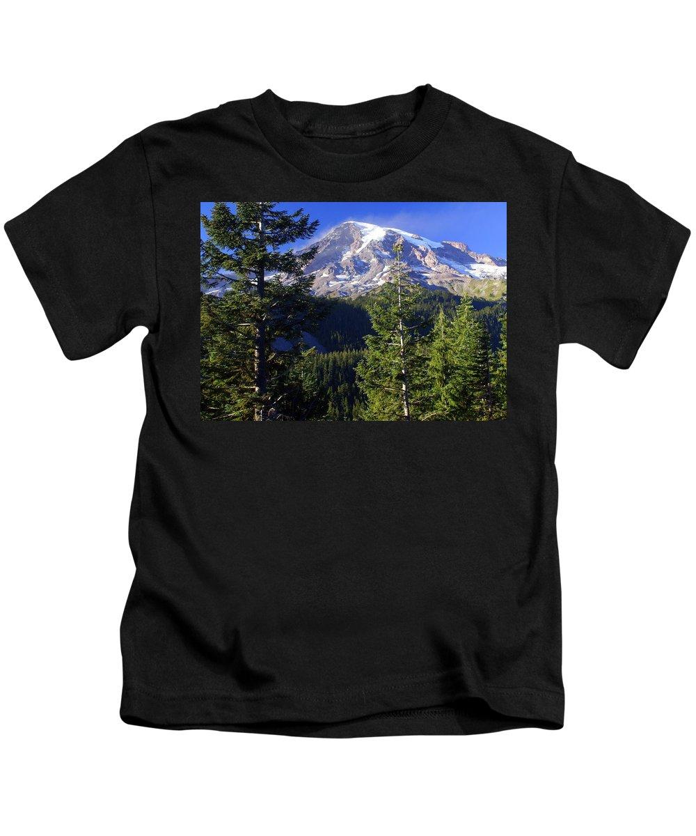 Mount Raineer Kids T-Shirt featuring the photograph Mount Raineer 1 by Marty Koch