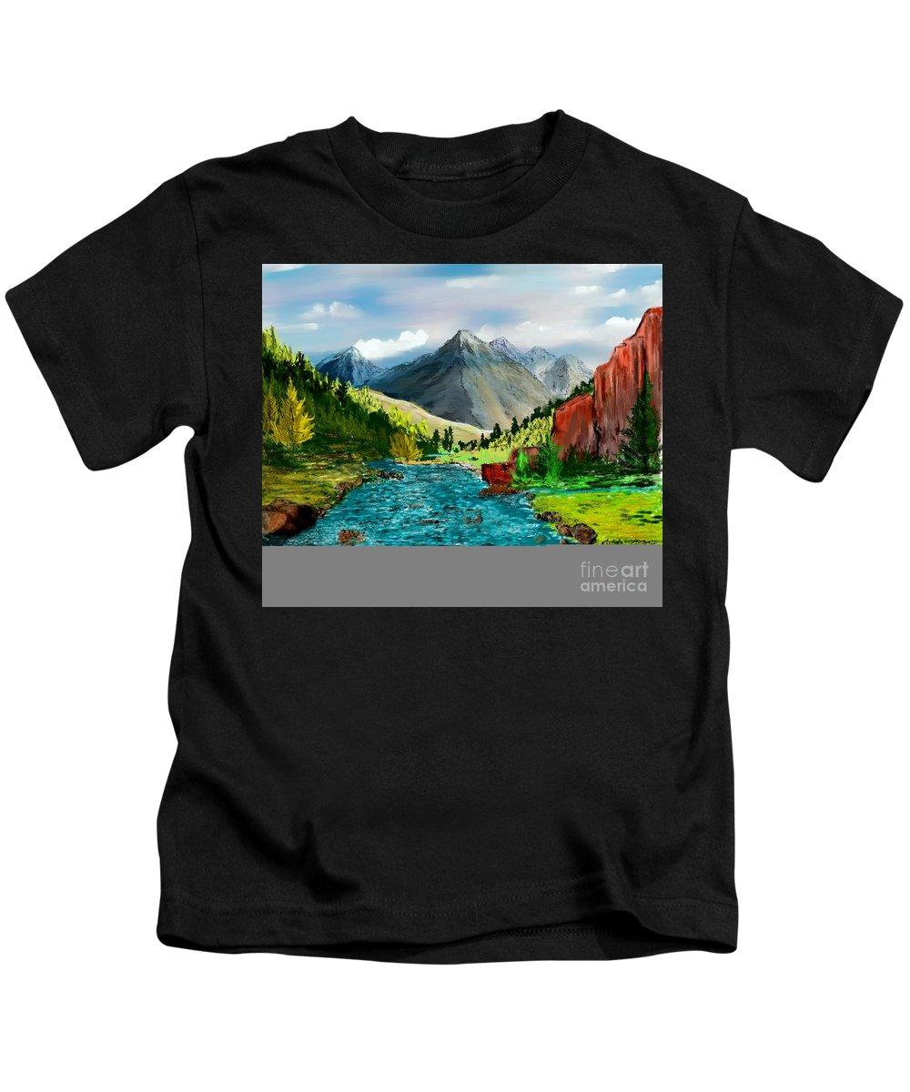 Digital Photograph Kids T-Shirt featuring the digital art Mountaian Scene by David Lane
