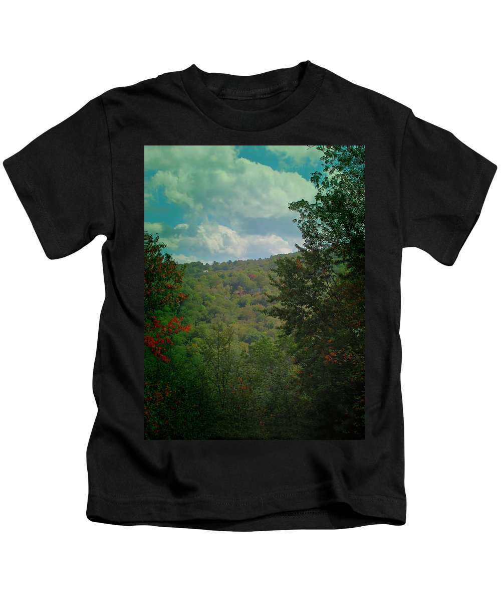Season Kids T-Shirt featuring the photograph Mountain Clouds by Gary Adkins