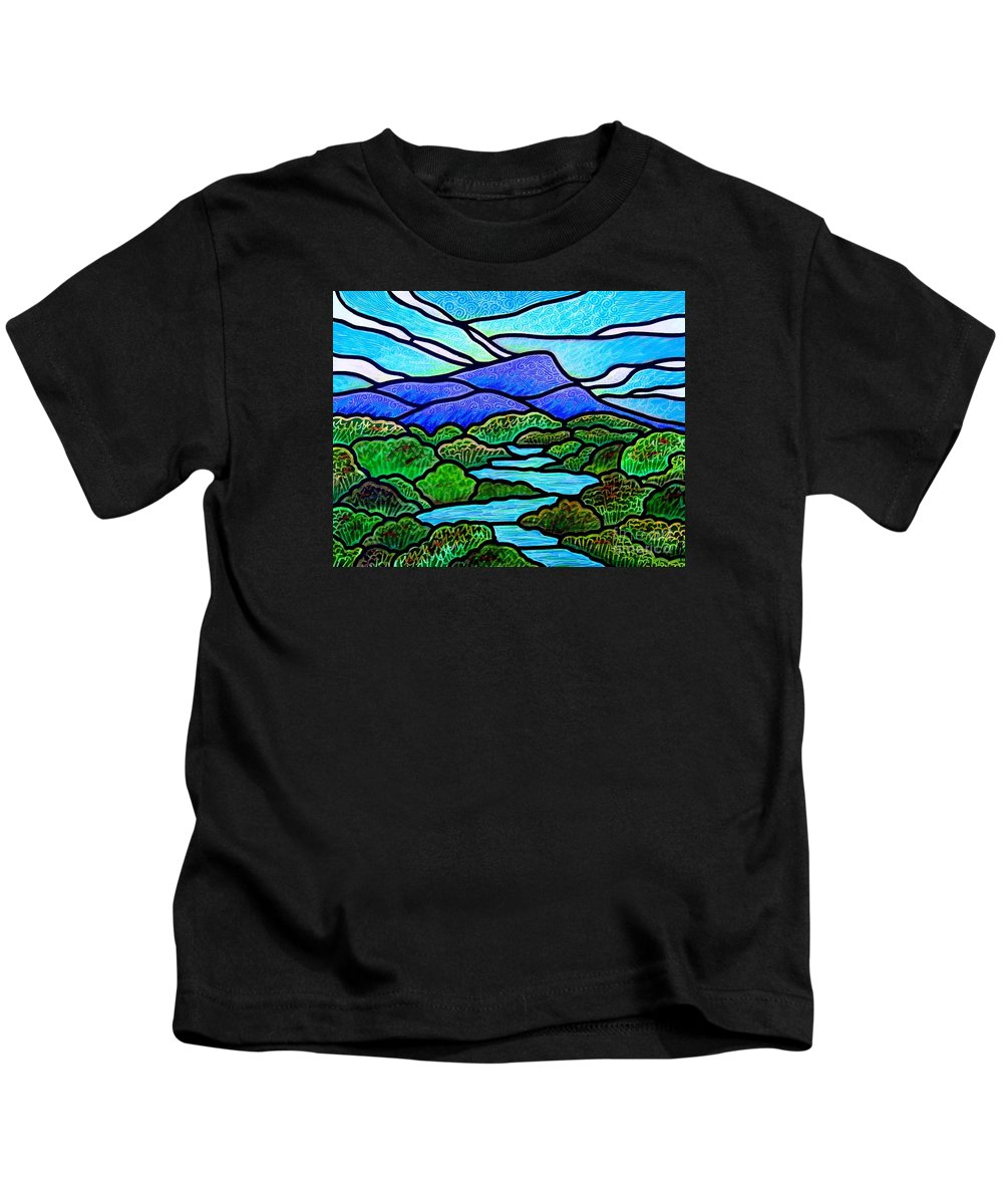 Paintings Kids T-Shirt featuring the painting Mountain Glory by Jim Harris