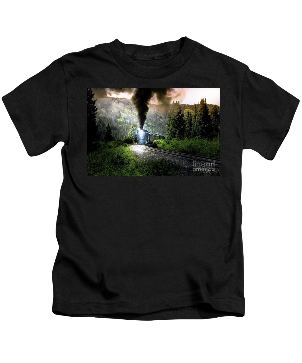 Transportation Kids T-Shirt featuring the photograph Mountain Railway - Morning Whistle by Robert Frederick