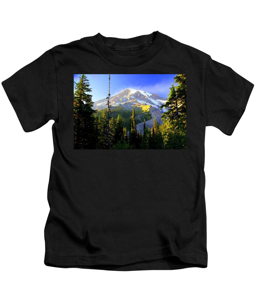 Mountain Kids T-Shirt featuring the photograph Mountain Sunset by Marty Koch