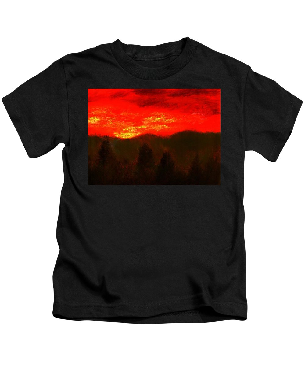 Mountain Kids T-Shirt featuring the pastel Mountain Sunset by Melvin Moon