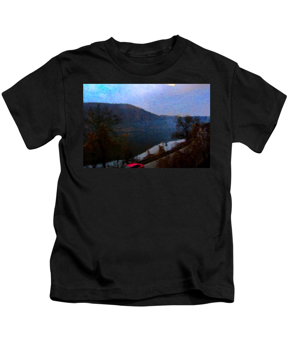 Lake Kids T-Shirt featuring the digital art Mountain, Water And Road. by Lenka Rottova