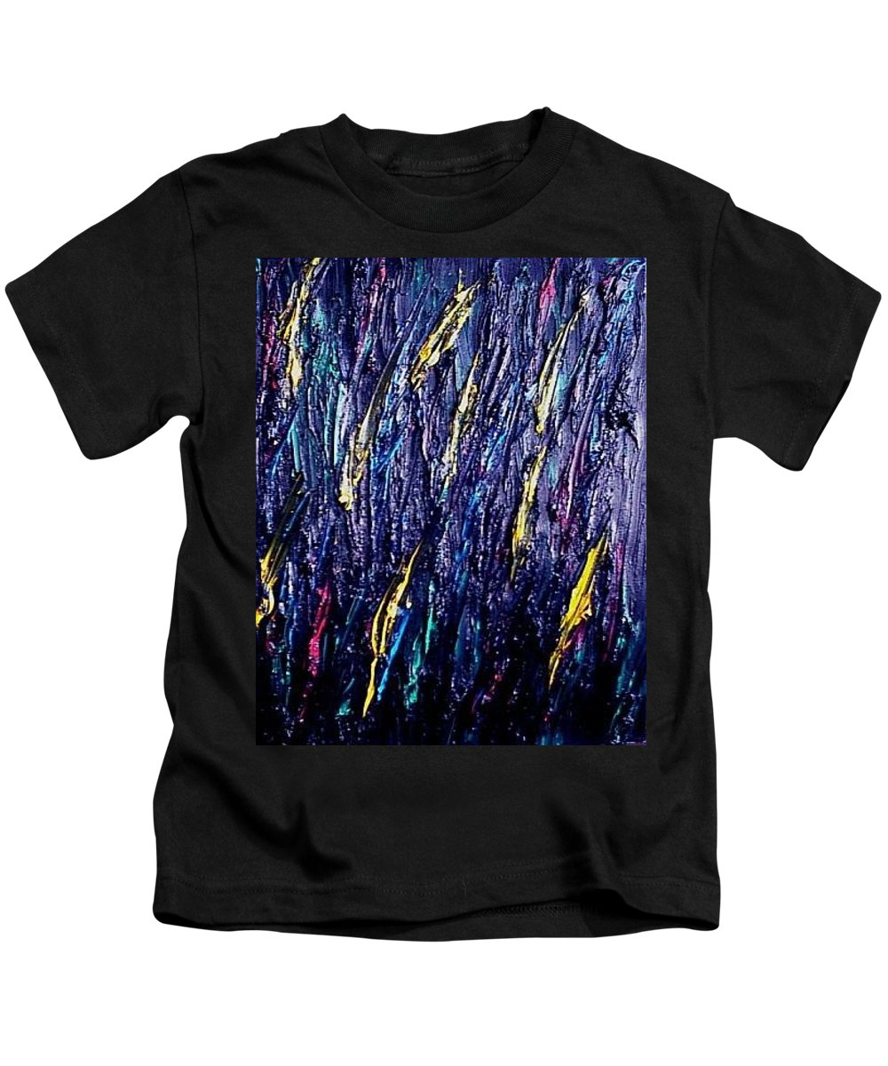 Moveonart! Digital Gallery Kids T-Shirt featuring the painting Moveonart Colors In The Dark by Jacob Kanduch
