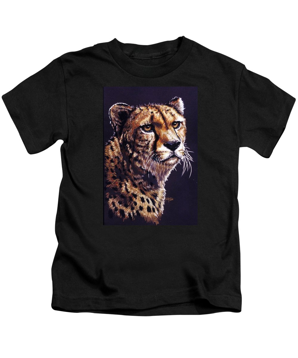 Cheetah Kids T-Shirt featuring the drawing Movin On by Barbara Keith