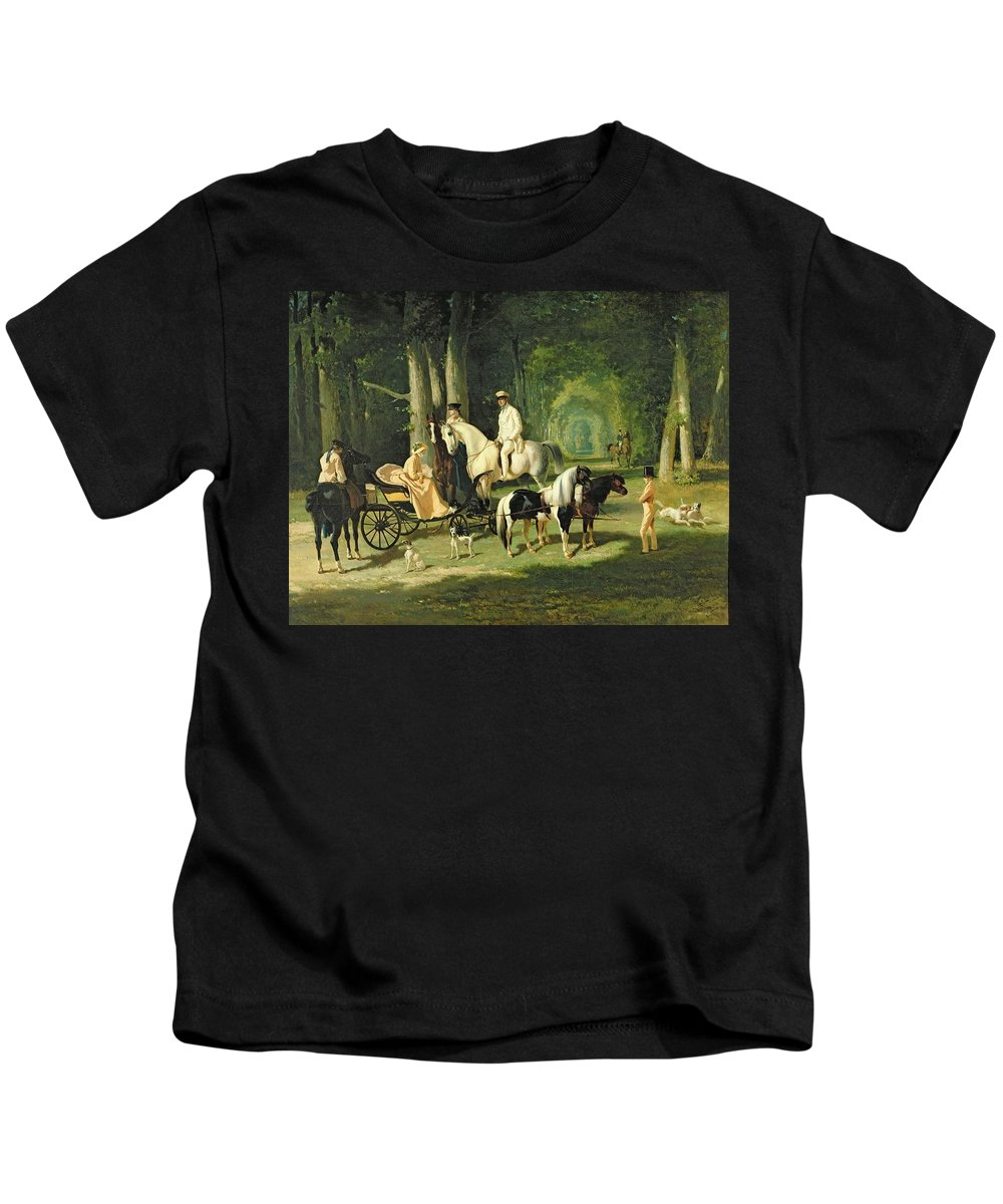 And Kids T-Shirt featuring the painting Mr And Mrs A Mosselman And Their Two Daughters by Alfred Dedreux