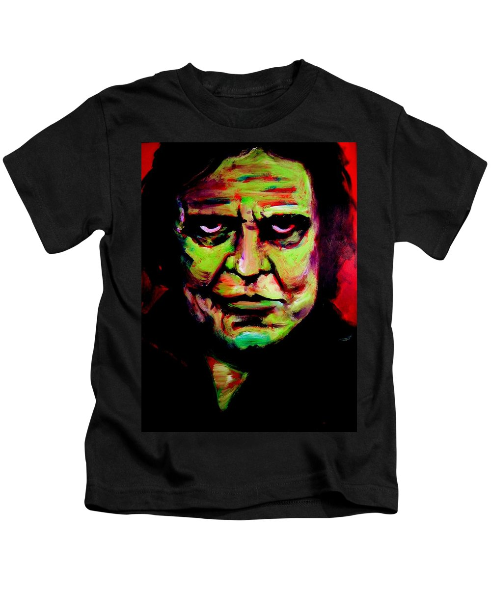 Portrait Kids T-Shirt featuring the painting Mr. Cash by Jason Reinhardt