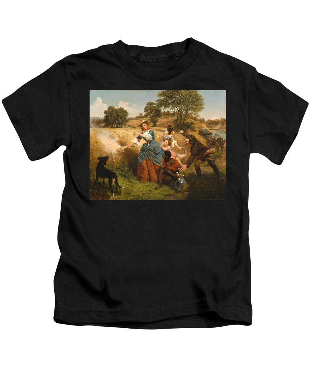 Emanuel Leutze Kids T-Shirt featuring the digital art Mrs Schuyler Burning Her Wheat Fields by Emanuel Leutze