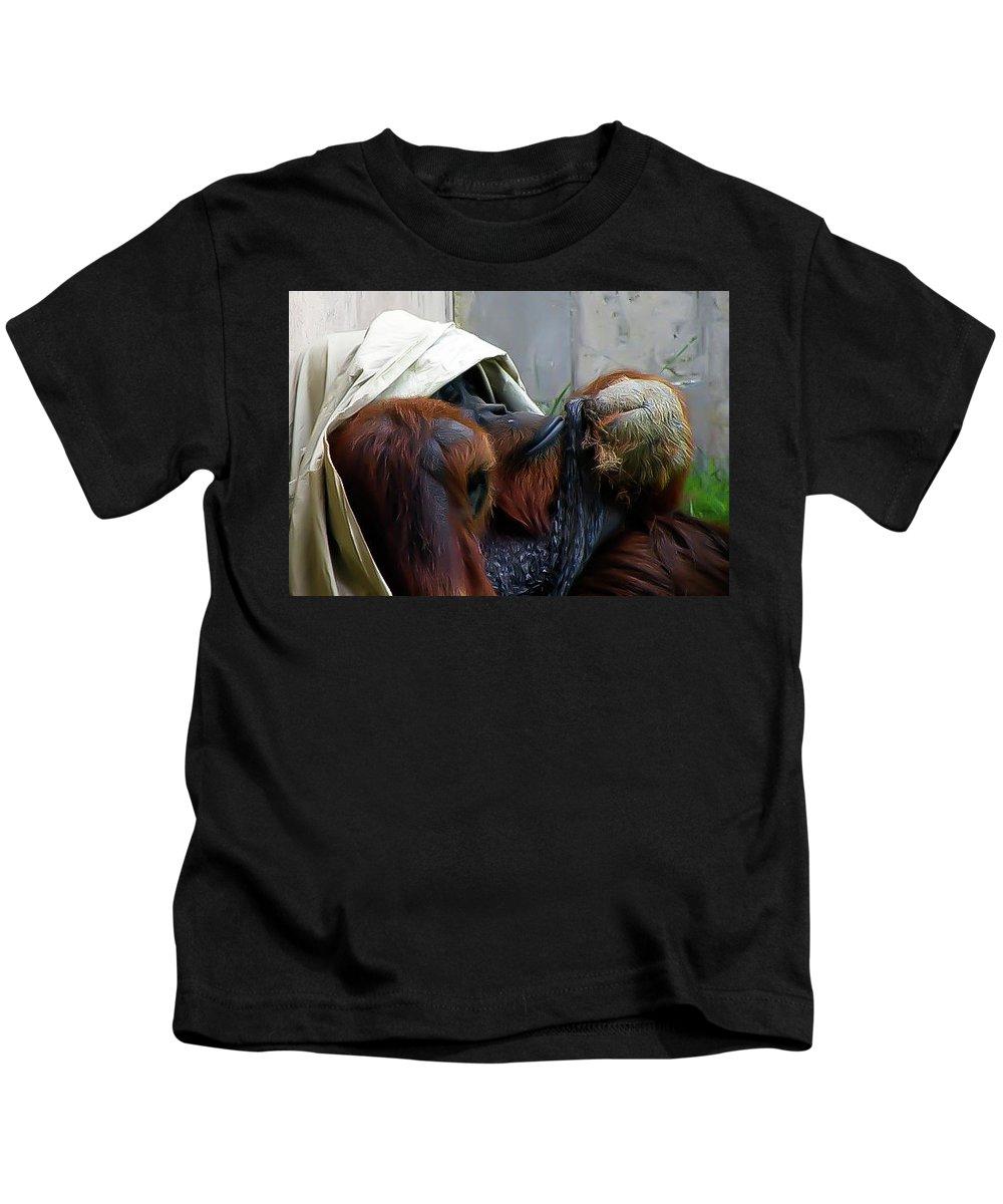 Orangutang Kids T-Shirt featuring the photograph Muffin Top by Trish Tritz