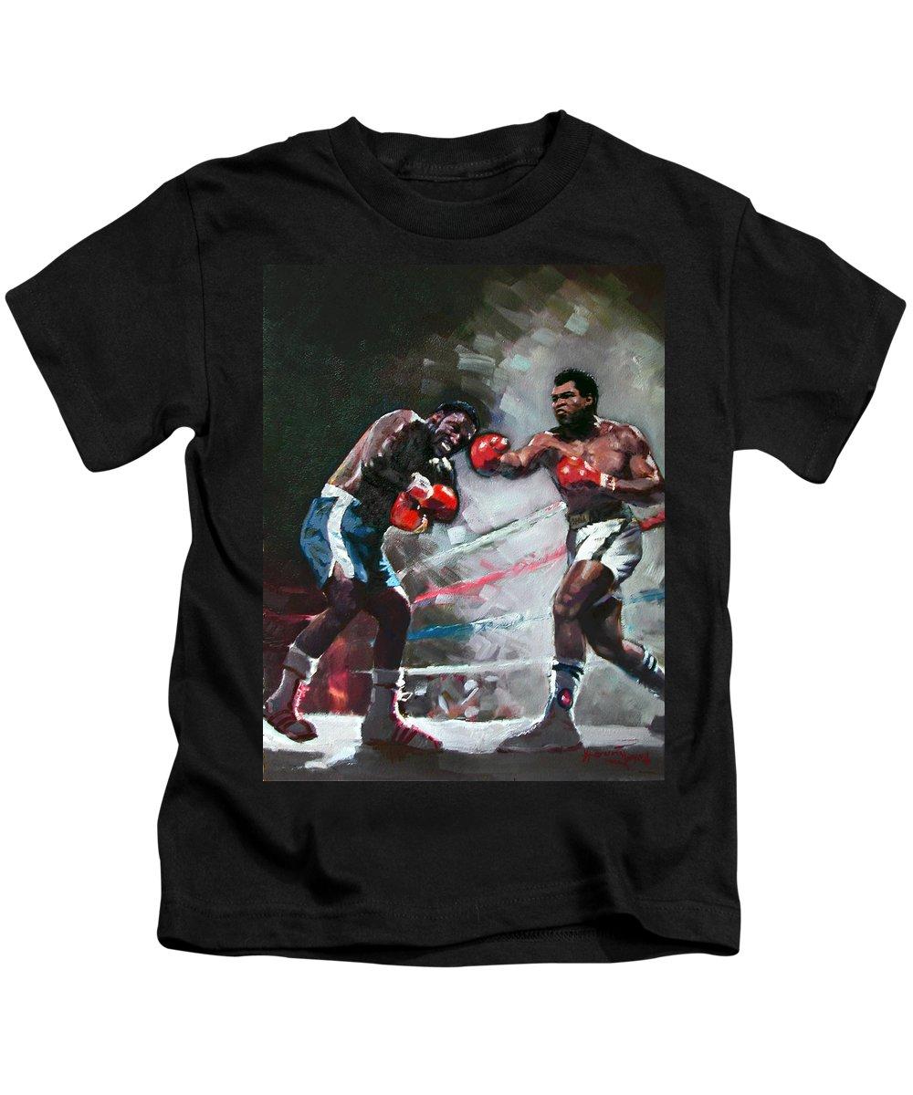 Muhammad Ali Kids T-Shirt featuring the painting Muhammad Ali And Joe Frazier by Ylli Haruni