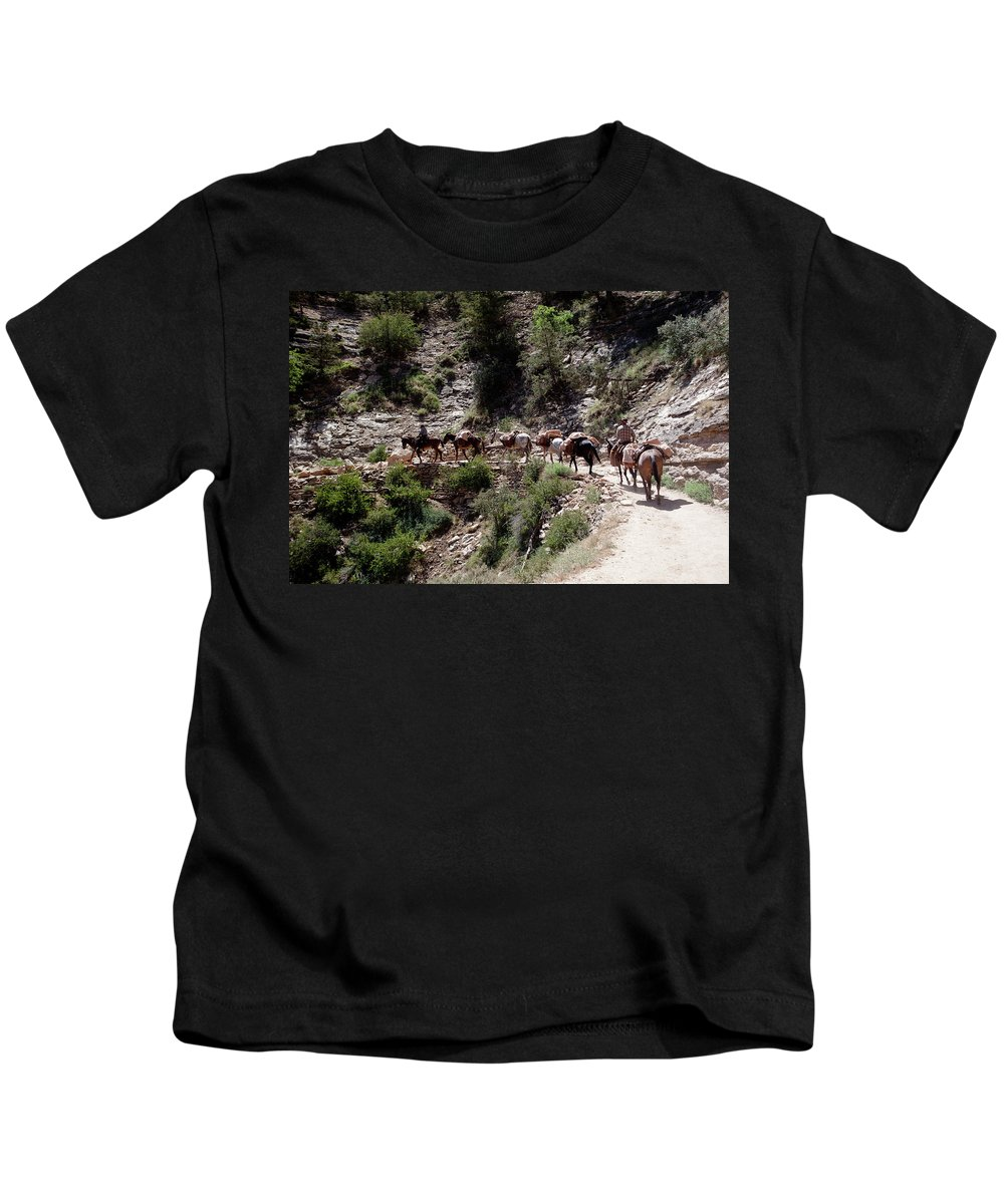 Mule Train Kids T-Shirt featuring the photograph Mule Train by Rich Sirko