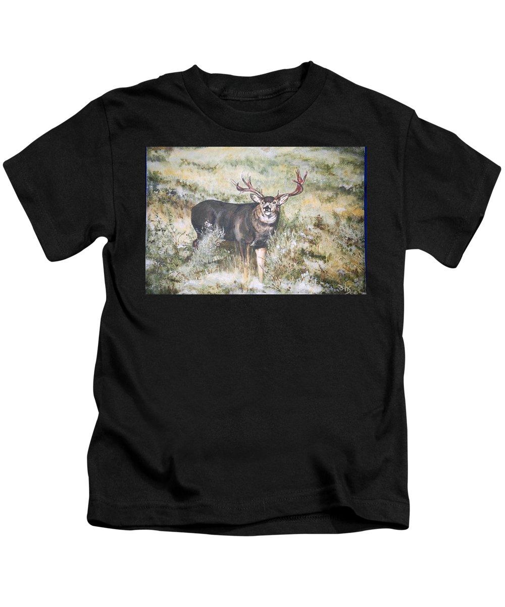 Mule Deer Kids T-Shirt featuring the painting Muley by Debra Sandstrom