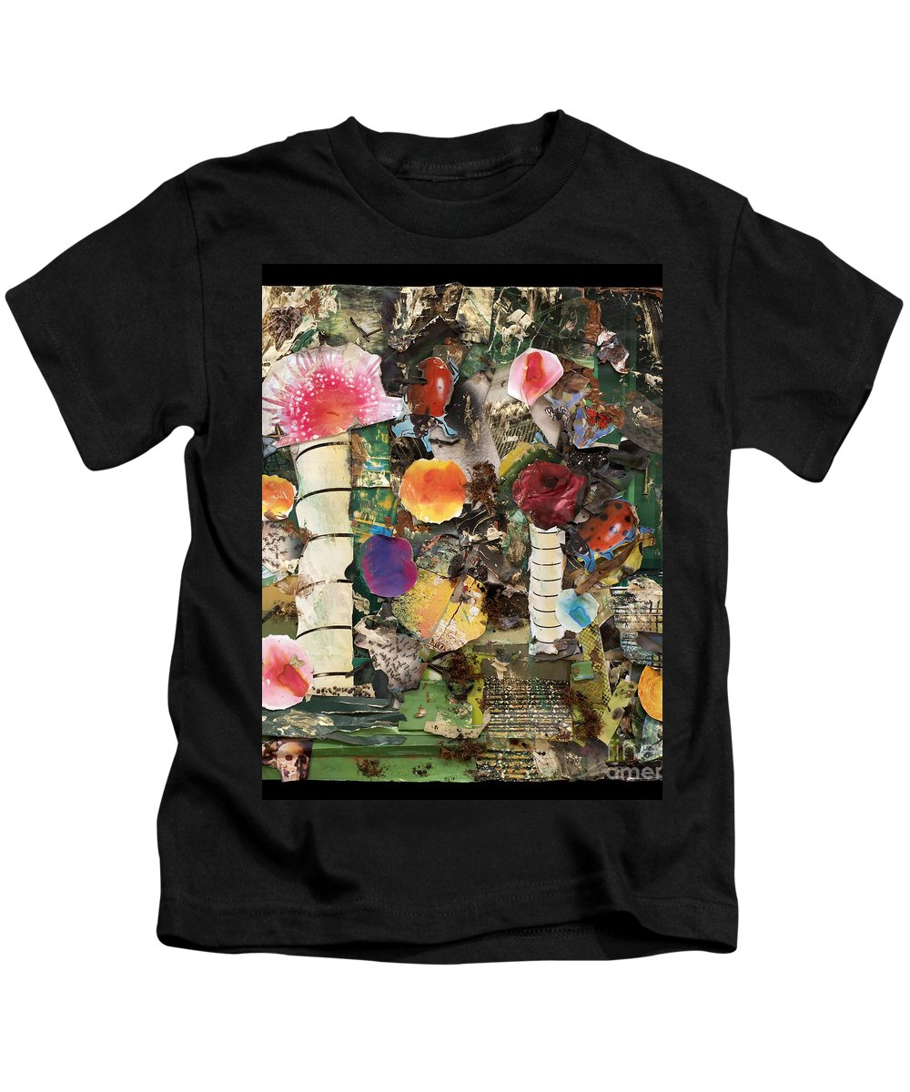 Abstract Kids T-Shirt featuring the mixed media Mushroom by Jaime Becker