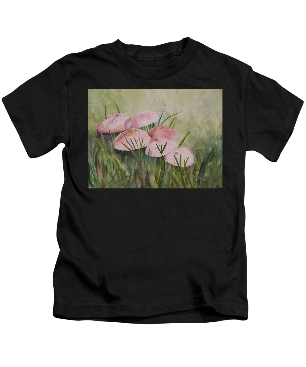 Landscape Kids T-Shirt featuring the painting Mushrooms by Suzanne Udell Levinger