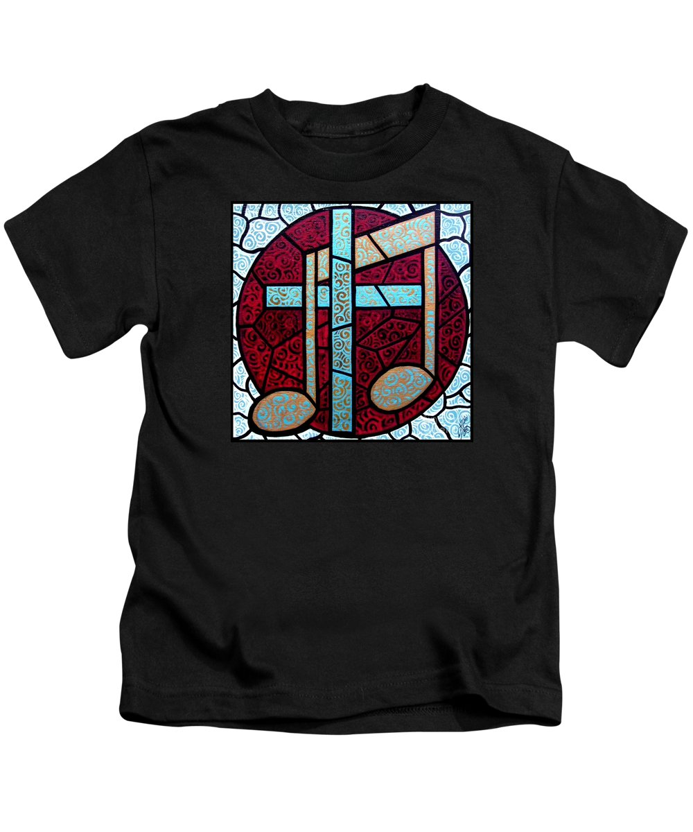Cross Kids T-Shirt featuring the painting Music Of The Cross by Jim Harris