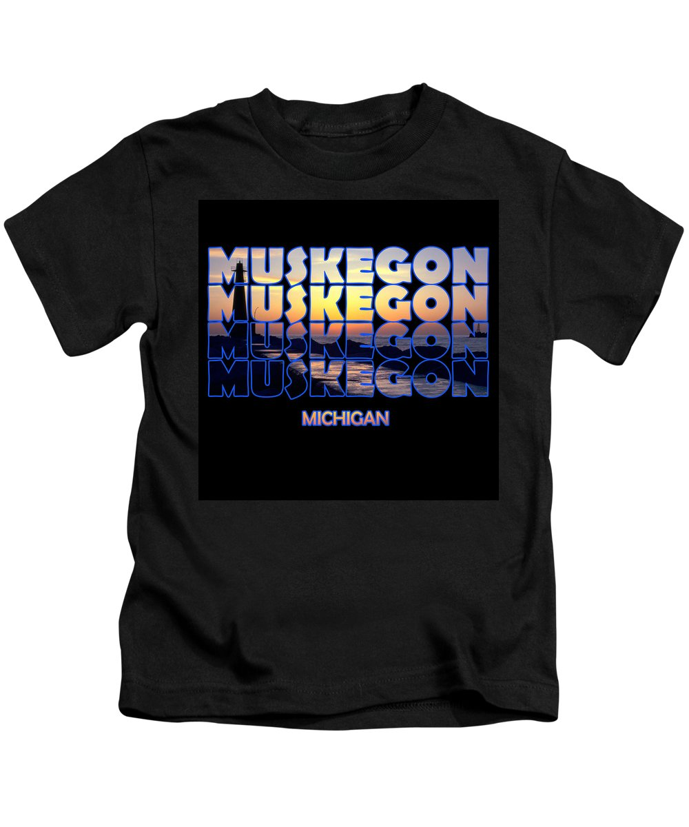 Muskegon Kids T-Shirt featuring the photograph Muskegon Channel Sunset by Frederic A Reinecke